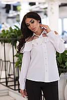 Нарядная женская рубашка со вставками из сетки горох. Арт-2558/64, фото 1