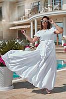 Платье женскоеШелковая белая расклешенная роскошь Батал 54+