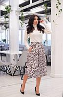 Удлиненная женская стильная юбка с леопардовым принтом. Арт-2559/64