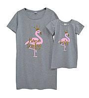 """Набор именных платьев для мамы и дочки """"фламинго"""" (персонализация) Family look"""
