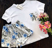 Пижама футболка и шорты S-M синие цветы