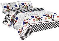 Комплект постельного белья Микроволокно 008 Oulaiya 7620 Белый, Синий