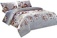 Комплект постельного белья Микроволокно 012 Oulaiya 7668 Кремовый, Серый, Оранжевый