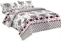Комплект постельного белья Микроволокно 015 Oulaiya 7699 Белый, Красный