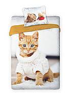 Комплект постельного белья Молодежный Хлопковый 311 Faro 7388 Белый, Бежевый, Оранжевый