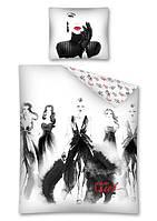 Комплект постельного белья Молодежный Хлопковый 2492 Detexpol 2219 Белый, Черный