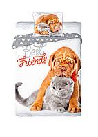 Комплект постельного белья Молодежный Хлопковый NR 335 Faro 6199 Белый, Оранжевый, Серый