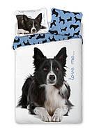 Комплект постельного белья Молодежный Хлопковый NR 336 Faro 6175 Белый, Черный, Синий
