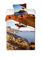 Комплект постельного белья Молодежный Хлопковый NR 354 Faro 2047 Коричневый, Синий, Оранжевый