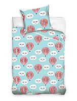 Комплект постельного белья Молодежный Хлопковый NR 007 Carbotex 8525 Белый, Синий, Красный