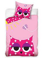Комплект постельного белья Молодежный Хлопковый 263 Carbotex 7910 Розовый