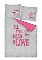 Комплект постельного белья Молодежный Хлопковый 2404A Detexpol 8342 Розовый, Серый