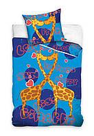 Комплект постельного белья Молодежный Хлопковый 267 Carbotex 8719 Синий, Желтый