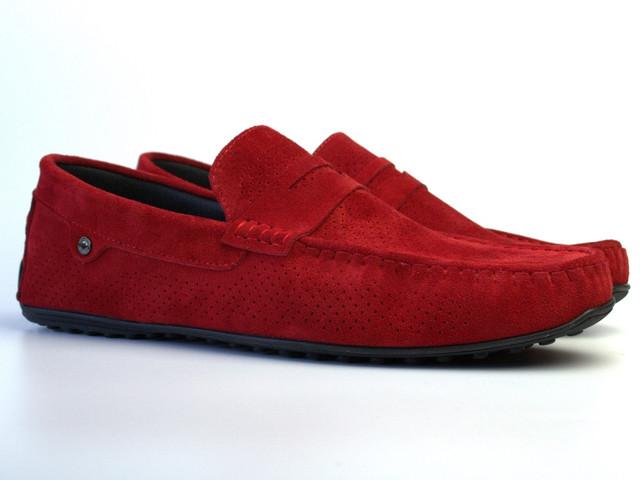 Мокасины летние с перфорацией красные замшевые мужская обувь большого размера ETHEREAL BS Red Vel Perf