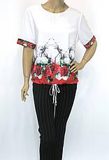 літня блузка з коротким рукавом на завязках внизу  Lavizzion, фото 3