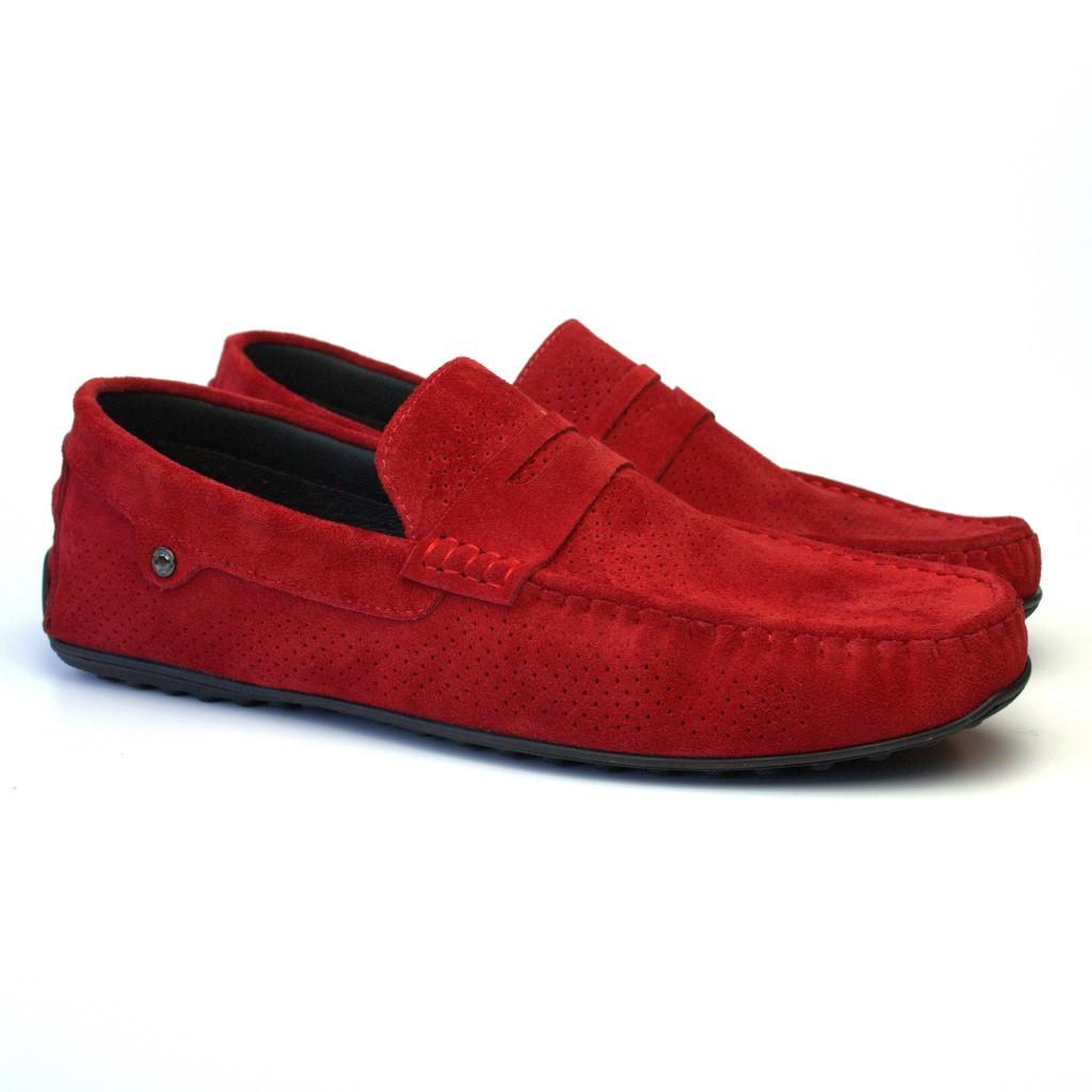 Мокасины мужские красные замшевые перфорация летняя обувь ETHEREAL BS Red Vel Perf by Rosso Avangard