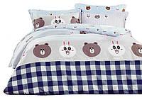 Комплект постельного белья Хлопковый Сатин Детский NR C1245 Oulaiya 9067 Коричневый, Синий