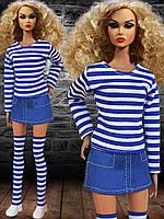 Одежда для кукол Барби - юбка, тельняшка и гетры