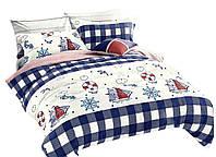 Комплект постельного белья Хлопковый Сатин Двухсторонний NR C1242 Oulaiya 9098 Кремовый, Красный, Синий, Розовый