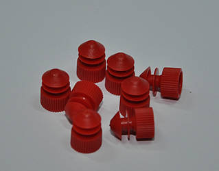 Пробки для пробирок диаметр 16 мм PE с ободками красного цвета 1000 шт/уп