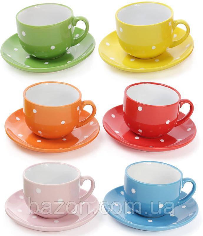 """Чайний набір """"Білий горох""""6 чашок (250мл) і 6 блюдець"""