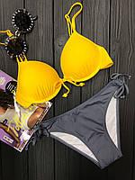 Раздельный женский купальник желто-серого цвета