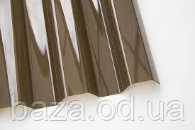 Профилированный монолитный поликарбонат (прозрачный шифер), бронза 1,15*2,0 м