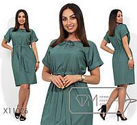 fac59d979d681d0 Джинсовое платье в больших размерах с кулиской и коротким рукавом 1151891
