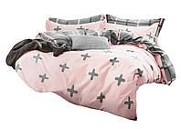 Комплект постельного белья Хлопковый Сатин NR C1320 Oulaiya 8715 Розовый, Серый