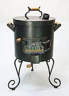 Печь ø40см для татарского казана 12-22л с крышкой и коваными деталями, высокая, толщина металла 3мм, фото 1