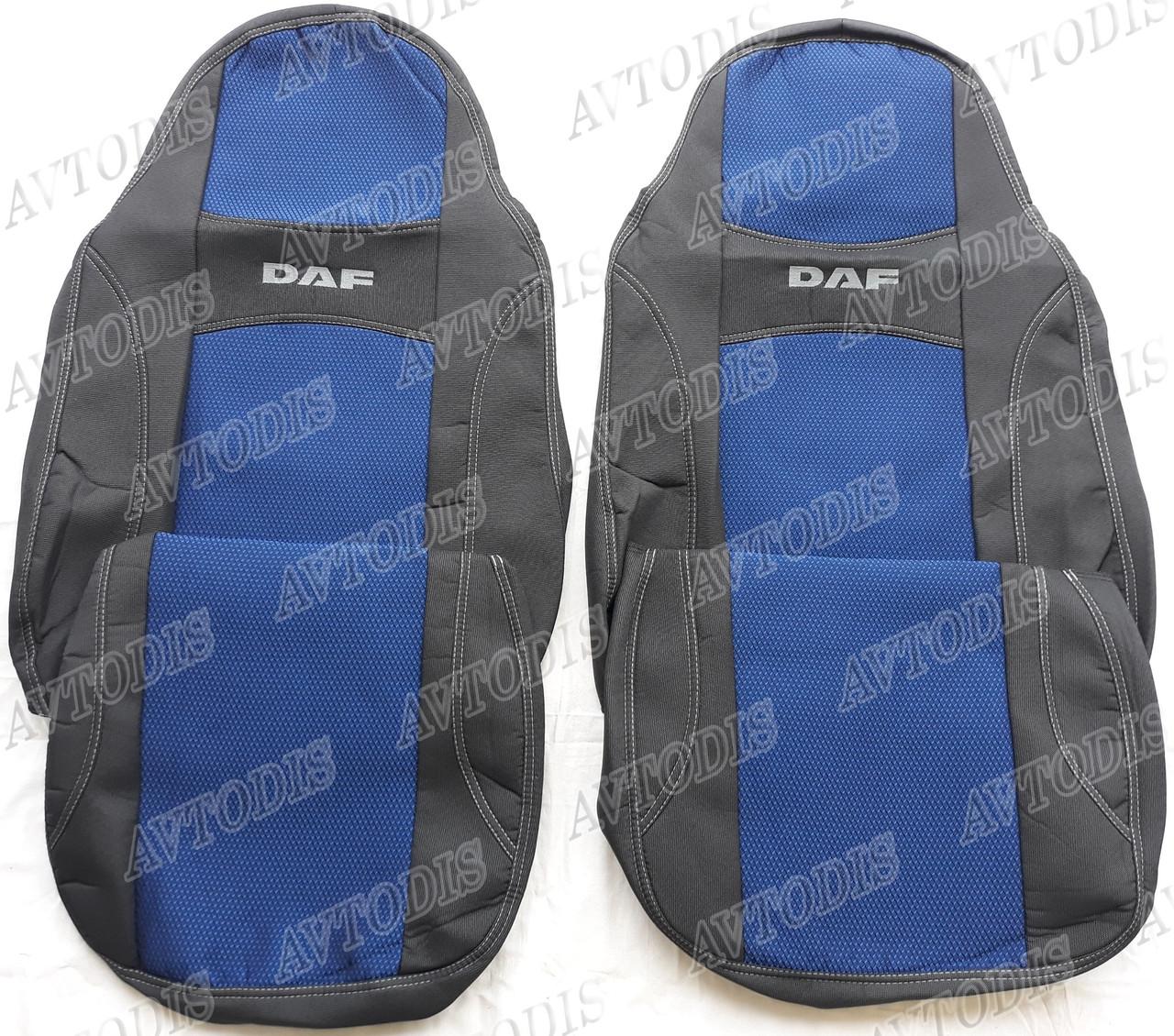 Авточехлы DAF XF 105 1+1 2005-2013 (синие) VIP ЛЮКС Nika