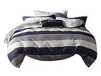 Комплект постельного белья Хлопковый Сатин NR C1322 Oulaiya 7978 Синий, Серый