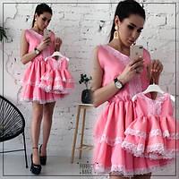 Розовое платье с кружевом для мамы и дочки