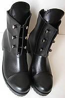Кожанные женские ботинки в стиле Болты черного цвета обувь кэжл, фото 1