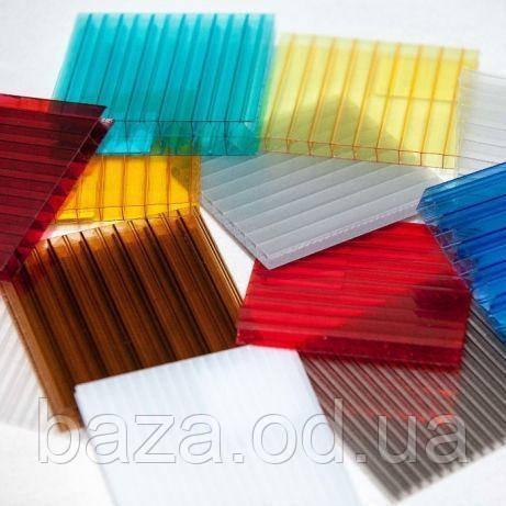Поликарбонат сотовый 4 мм 2100х6000 мм синий, красный, зеленый, жёлтый, молочный