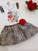 """Нарядное платье для девочки """"Леопардовый микс"""". ТМ Garden Baby, фото 1"""