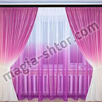 Тюль лен розовая растяжка, фото 1