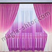 Тюль лен розовая растяжка