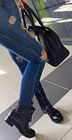 Кожаные женские зимние ботинки с болтами черного цвета обувь в стиле Hermes Гермес