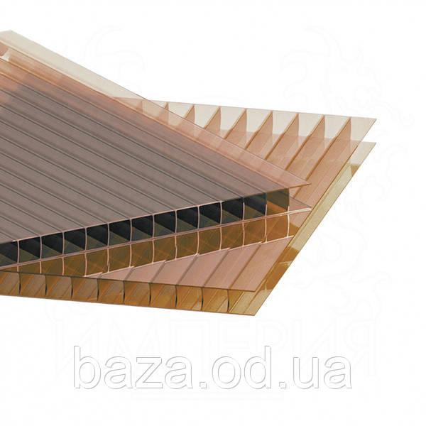 Поликарбонат сотовый 4 мм 2100x1000 мм (2,1 м2) бронзовый