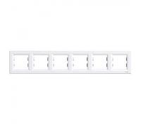 Рамка шестиместная горизонтальная белый Asfora Schneider Electric