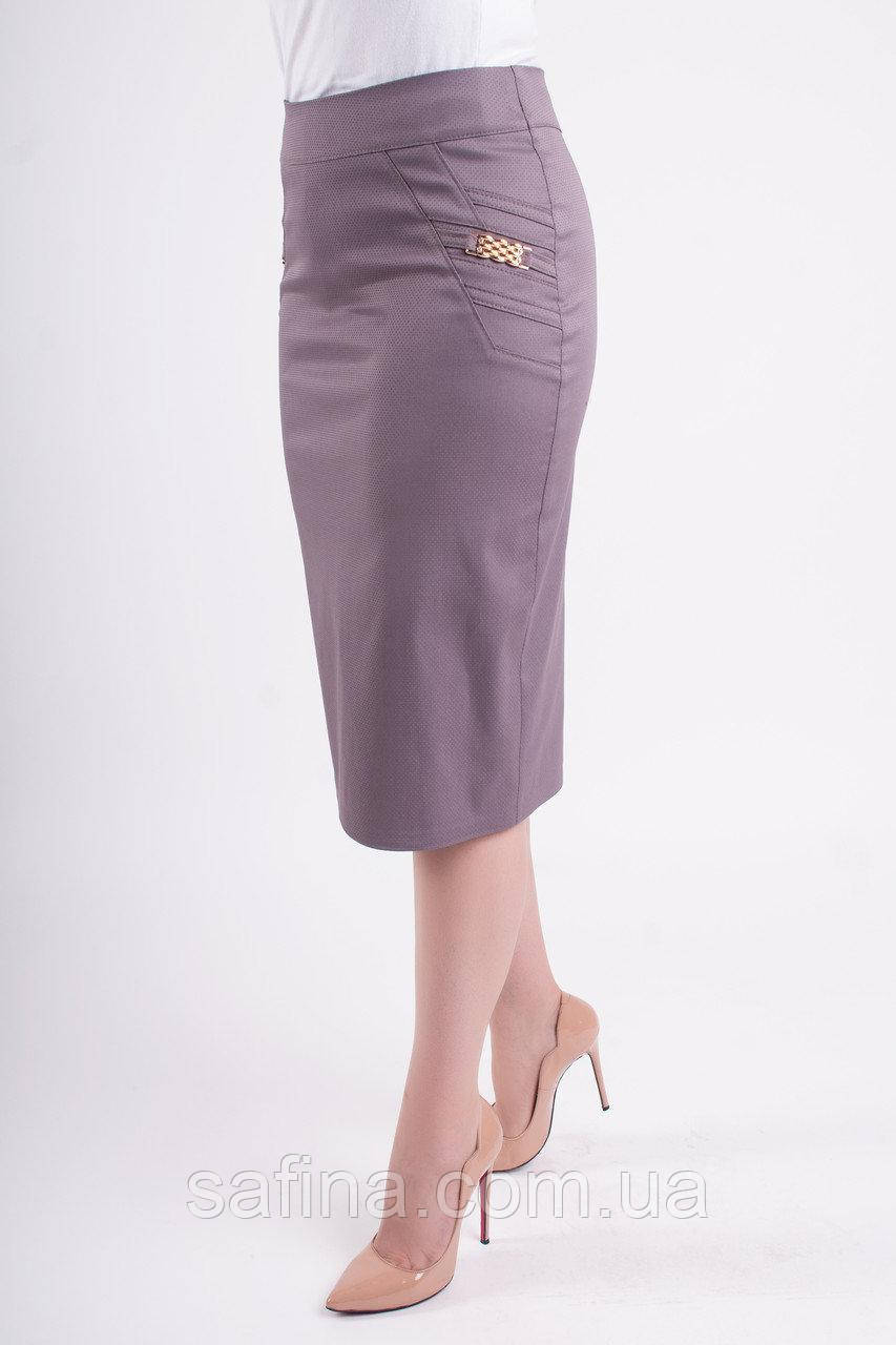 Светлая юбка стрейч 58