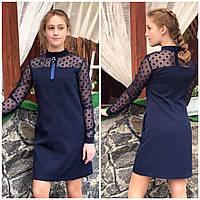 Платье школьное подростковое с однотонной сеткой в горох оптом
