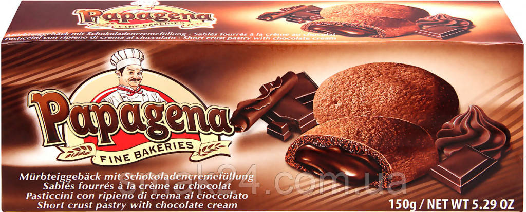 Печенье песочное с шоколадным кремом   Papagena Австрия 150г