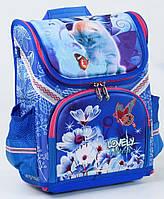 Ранец школьный каркасный Кошечка 1, 2, 3 класс. Для девочек. Рюкзак ортопедический, портфель школа. Голубой