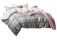 Комплект постельного белья Хлопковый Сатин NR C1344 Oulaiya 8364 Розовый, Серый