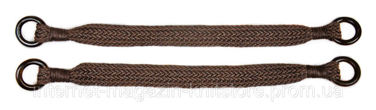 Ручки для сумок шкіряні з кільцями, коричневі, 50 см