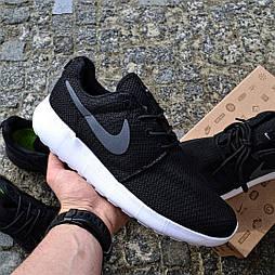 Мужские кроссовки Nike Roshe Run black/white летние в сетку. Живое фото (Реплика ААА+)