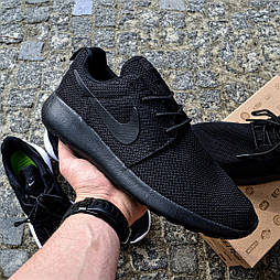 Мужские кроссовки Nike Roshe Run black черные летние в сетку. Живое фото (Реплика ААА+)