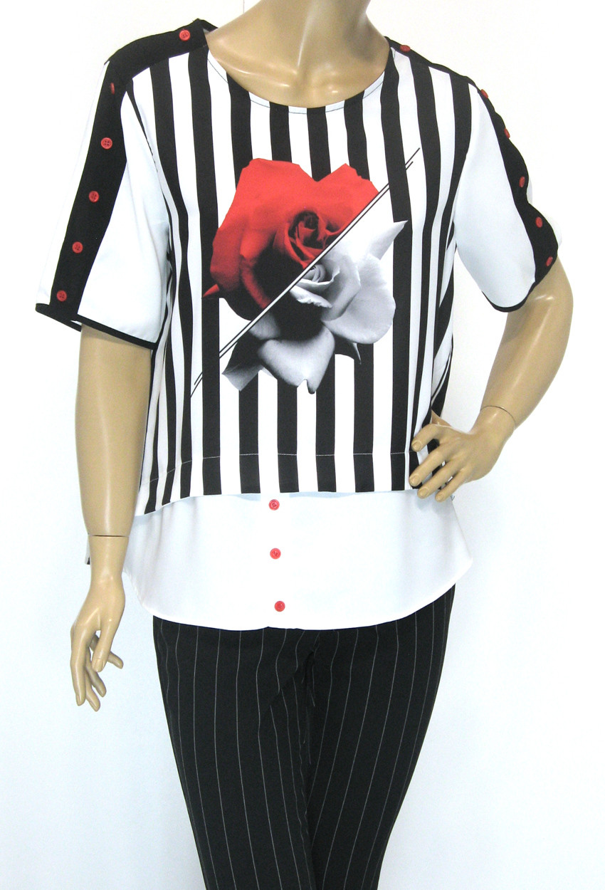 Шифонова нарядна блуза в полоску Lavizzion
